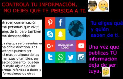 Cartel Riesgos de las redes sociales